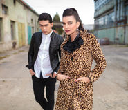 Fashion couple posing near old factory. Stock Photo