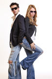 Fashion couple posing in studio Stock Photos