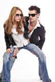 Fashion couple in spider position Royalty Free Stock Image