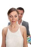 Fashion couple, studio shot on white Royalty Free Stock Photos