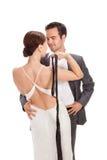 Fashion couple, studio shot on white Stock Photo
