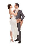 Fashion couple, studio shot on white Stock Photos