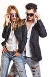 Fashion couple with sunglasses Stock Images