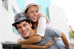 Fashion couple wearing hats Stock Image