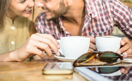 Fashion couple of young lovers at cafe bar cafeteria Stock Image