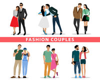 Fashion couples. People characters set Stock Photos