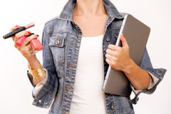 Fashion creative space. Fashion blogger at work. Overhead of essentials for modern person. Royalty Free Stock Images