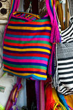 Fashion - Crochet handbags. Women fashion accessories, Various items of crocheted bucket-style handbags, Wayuu handcrafted mochilas woolen bags, Colombia Stock Photo