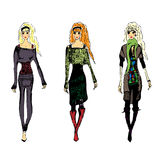 Fashion croquis. A fashion sketch of 3 women walking vector illustration