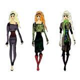 Fashion croquis. A fashion sketch of 3 women walking Royalty Free Stock Images