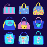 Fashion Cute with cartoon pattern Bag Collection. Stock Photography