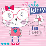 Fashion cute cat kitty vector illustration Royalty Free Stock Photography