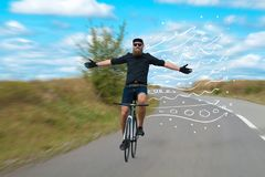 Fashion cyclist in the nature going somewhere. Fashion person riding bicycle in the nature with doodle concept Royalty Free Stock Image