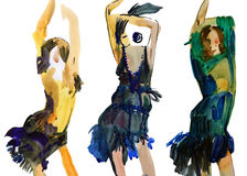 Fashion dancing girls royalty free illustration