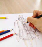 Fashion Design. Er drawing amodel,education of fashion royalty free illustration
