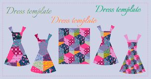 Fashion design. Card with collection of summer female dresses Royalty Free Stock Photo