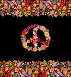 Fashion design with colorful floral summery seamless border and hippie peace symbol for shirt print and party poster on black back. Fashion design with colorful stock illustration