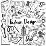 Fashion design education handwriting doodle icon tool sign and s Royalty Free Stock Photos