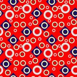 Seamless geometric pattern with circles and rhombuses on a red background. Fashion design geometric pattern - trendy abstract vector. Seamless background of Royalty Free Stock Photography