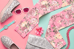 Fashion Design Hipster Accessories. Urban Outfit. Fashion Design Woman Clothes Accessories Set. Trendy Hipster Floral Leggings, fashion Sunglasses, Stylish Royalty Free Stock Photos