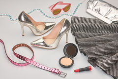 Fashion Design Luxury Clothes Accessories.Cosmetic Royalty Free Stock Photography