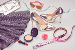 Fashion Design Luxury Clothes Accessories.Cosmetic Stock Photos