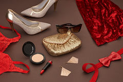 Fashion Design Luxury Clothes Accessories.Cosmetic Royalty Free Stock Images