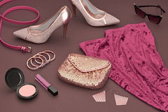 Fashion Design Luxury Clothes Accessories.Cosmetic Stock Photography