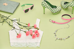 Fashion Design Luxury Clothes Accessories Outfit. Royalty Free Stock Photos