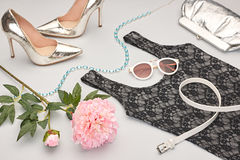 Fashion Design Luxury Clothes Accessories Outfit. Stock Image