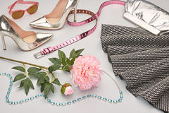 Fashion Design Luxury Clothes Accessories Outfit. Royalty Free Stock Photography