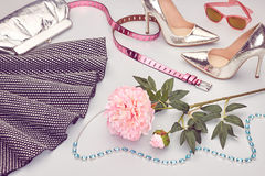 Fashion Design Luxury Clothes Accessories Outfit. Royalty Free Stock Photo