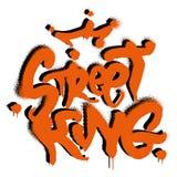 Street King graffiti. Fashion design print on clothes t shirt sweatshirt also for sticker poster. Phrase `Street King` in graffiti spray vandal underground style stock illustration