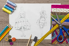 Fashion design sketch. Shoot of fashion design sketch vector illustration