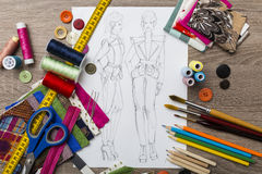 Fashion design sketch Stock Photography