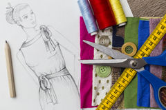 Fashion design sketch. Shoot of fashion design sketch royalty free stock photography