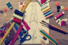 Fashion Design sketch. Shoot of fashion design sketch stock images