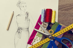 Fashion Design sketch. Shoot of fashion design sketch royalty free stock images