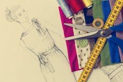 Fashion design sketch. Shoot of fashion design sketch royalty free stock images