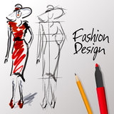 Fashion design sketches stock photo
