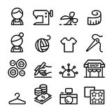 Fashion design , tailor , Dressmaker , sewing icons set in thin Stock Photo