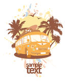 Fashion design template with retro bus. Stock Images