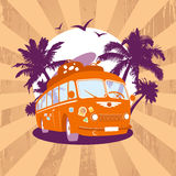 Fashion design template with retro bus. Royalty Free Stock Photography