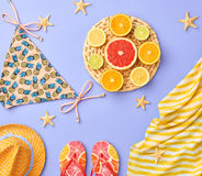 Fashion Design. Tropical Summer Set. Bright Color Royalty Free Stock Images