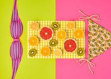 Fashion Design. Tropical Summer Set. Bright Color Stock Photo