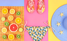 Fashion Design. Tropical Summer Set. Bright Color Royalty Free Stock Photo