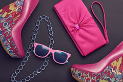 Fashion Design Woman Accessories. Glamor Night Out. Fashion Design Woman Accessories Set. Trendy fashion Sunglasses, Handbag Clutch. Glamor fashion shoes Pink Royalty Free Stock Photos