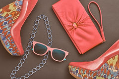 Fashion Design Woman Accessories. Glamor Night Out. Fashion Design Woman Accessories Set. Trendy fashion Sunglasses, Handbag Clutch. Glamor fashion shoes Pink Stock Images
