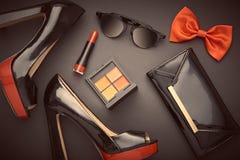 Fashion Design Woman Accessories Set.Glamor Makeup. Fashion Design Woman Accessories Set. Cosmetic Makeup. Trendy fashion Sunglasses, Handbag Clutch clothes Royalty Free Stock Image