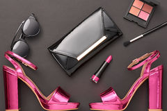 Fashion Design Woman Accessories Set.Glamor Makeup Stock Images